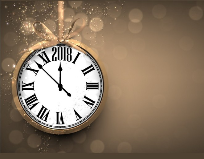2018-new-year-background-with-clock-vector-18560433